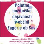 Poletne počitniške dejavnosti v občini Zagorje ob Savi 2017